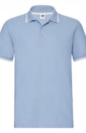 Premium Tipped Polo New Sky Blue/White