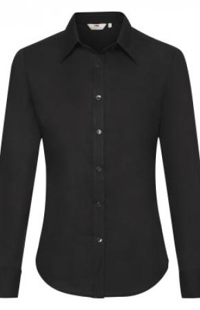 Lady-Fit Oxford Shirt L/S Black