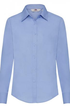 Lady-Fit Poplin Shirt L/S Mid Blue