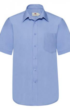 Mens Poplin Shirt S/S Mid Blue