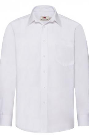 Mens Poplin Shirt L/S White